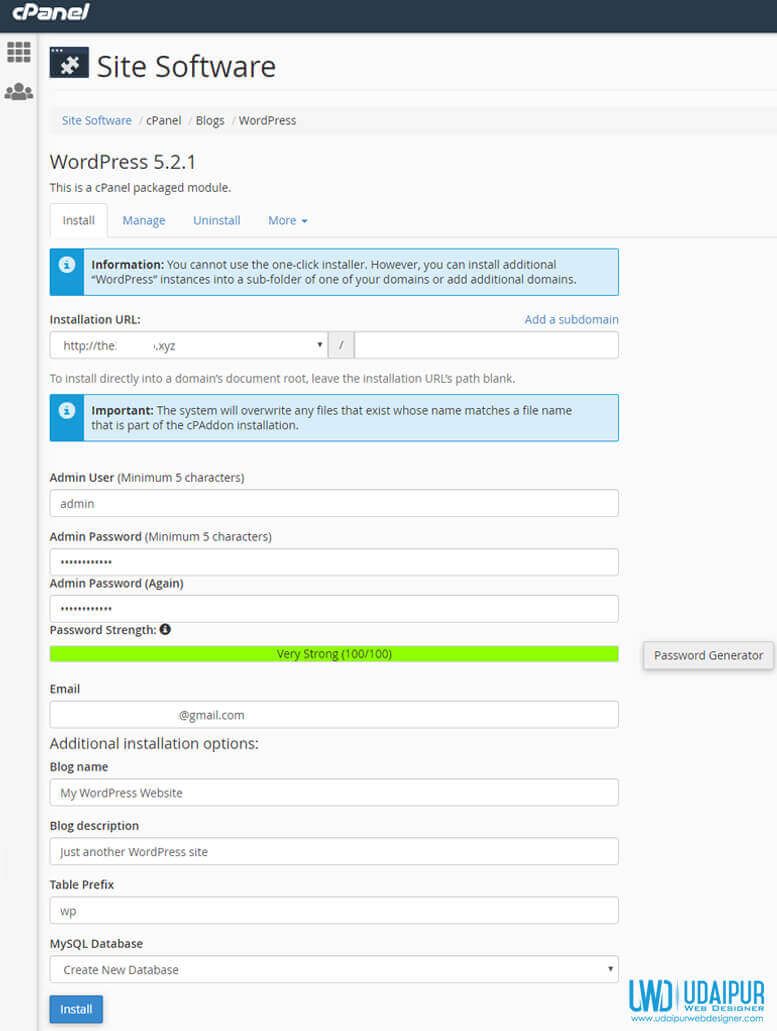 wordpress installation in cPanel with auto installer