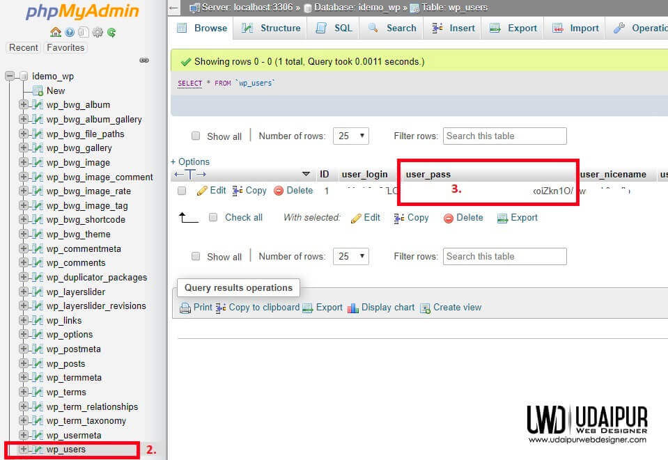 change password in wordpress database